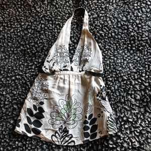 BCBGMaxazria new silk halter top floral small